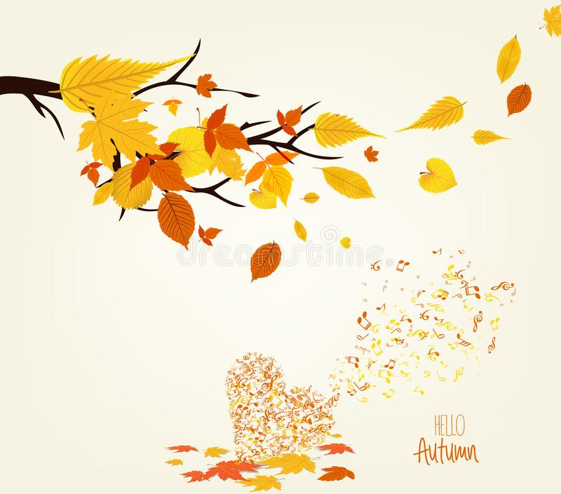 Vector Illustration of an Autumn leaves Design and musical is my soul royalty free illustration