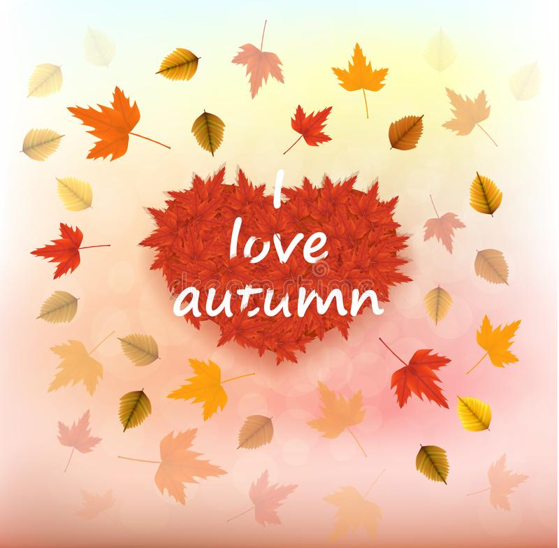 Vector illustration of an autumn leaves in heart shape with fall leaves around on a bokeh background. Ready elements with autumn b stock image