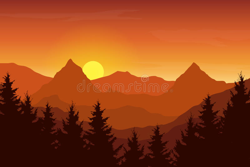 Vector illustration of an autumn orange mountain landscape. Under a sunrise sky with clouds royalty free illustration
