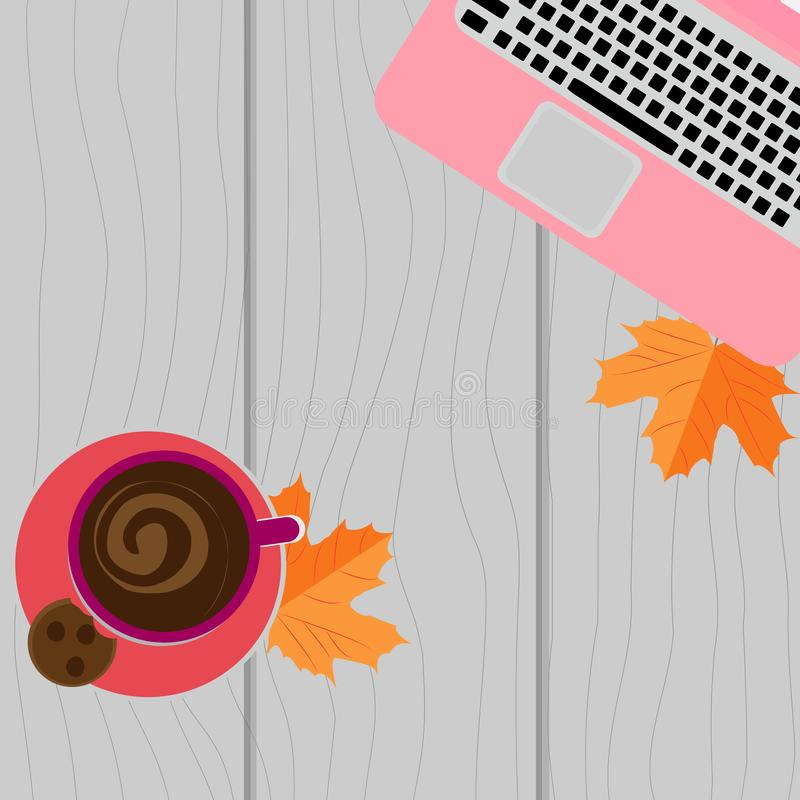 Autumn workplace. Laptop, coffee and yellow leaves on a wooden background royalty free illustration