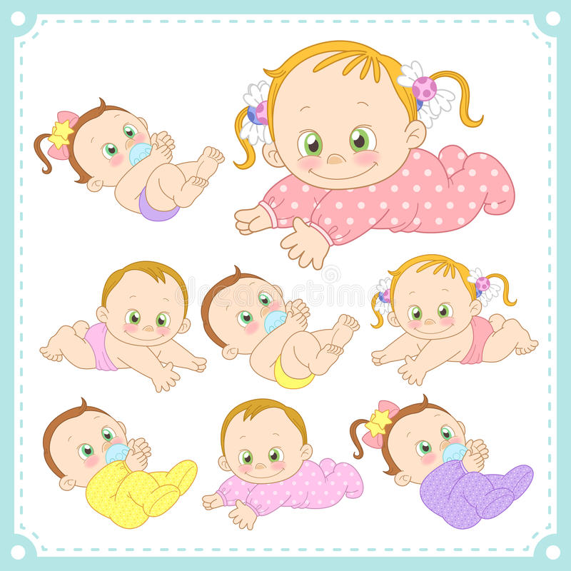 Vector illustration of baby boys and baby girls. With white background vector illustration