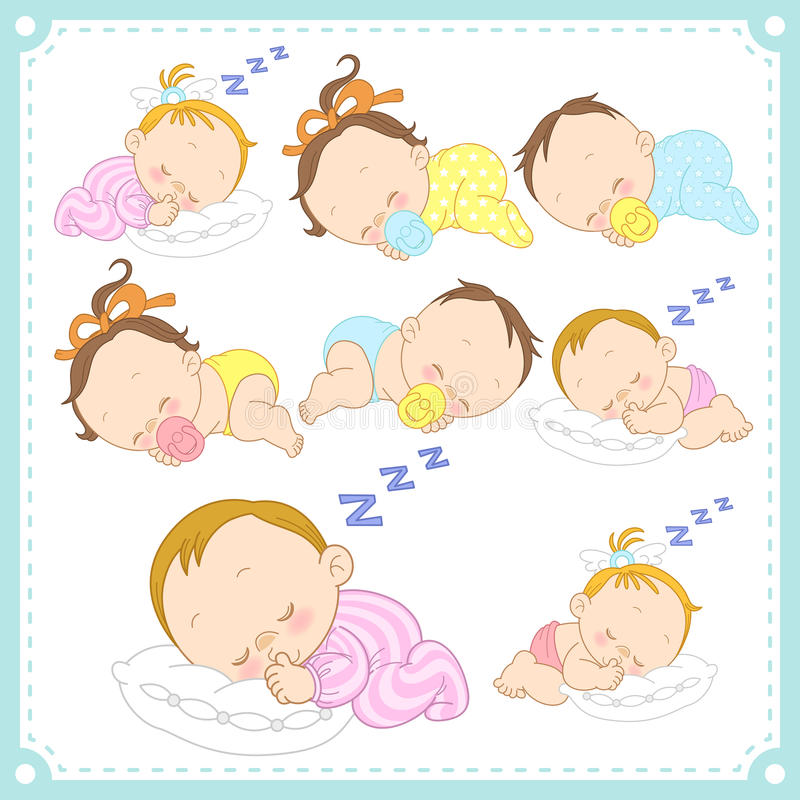 Vector illustration of baby boys and baby girls. With white background royalty free illustration