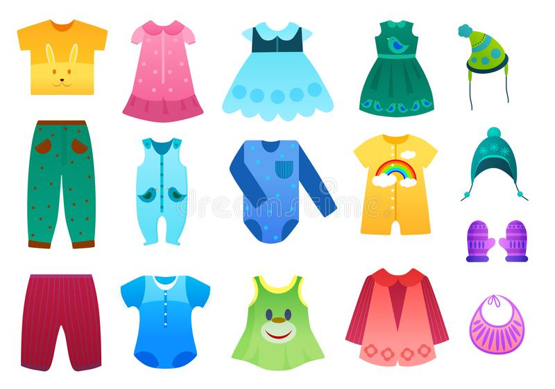 Vector Illustration Of Baby And Children Kids Clothes Collection