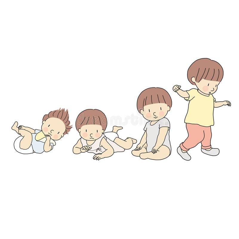 Vector illustration of baby growth stage in first year. Set of lying, rolling over, crawling, sitting, walking. 1 year child. Development milestone, newborn stock illustration