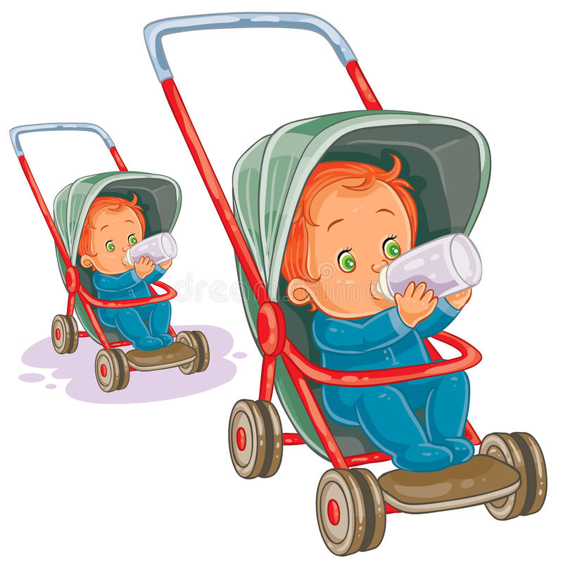 Vector illustration of a baby sitting in a baby stroller and drinking milk from a baby bottle. Print, template, design element vector illustration