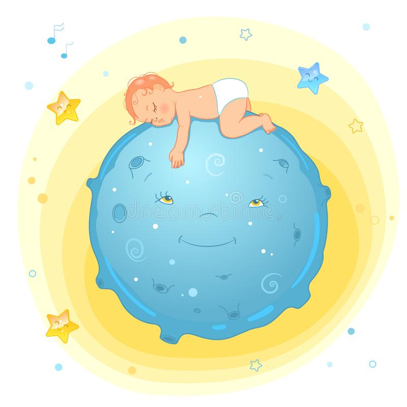 Vector illustration of a baby sleeping on the moon. Realistic cartoon baby in diaper. Illustration for diaper package or royalty free illustration