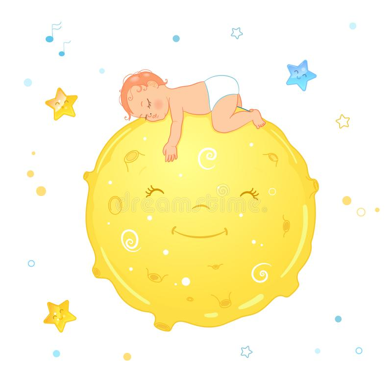 Vector illustration of a baby sleeping on the moon. Realistic cartoon baby in diaper. Illustration for diaper package or stock illustration