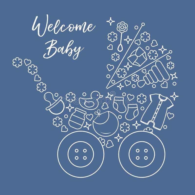 Newborn baby vector illustration. Baby stroller. Vector. Vector illustration with baby stroller, goods for babies. Newborn baby background. Baby nipple, socks royalty free illustration