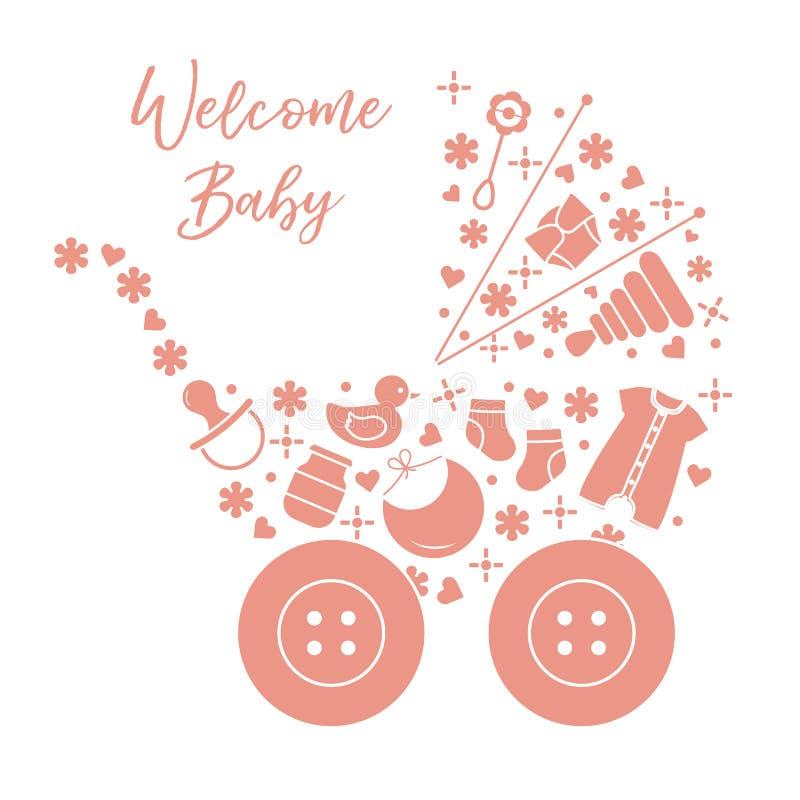 Newborn baby vector illustration. Baby stroller. Vector. Vector illustration with baby stroller, goods for babies. Newborn baby background. Baby nipple, socks stock illustration
