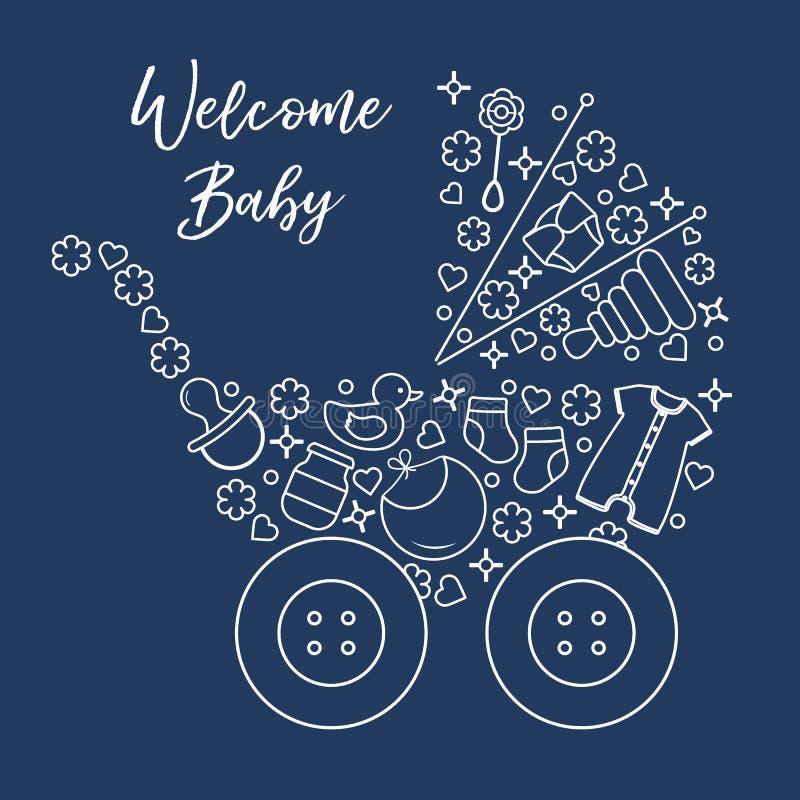 Newborn baby vector illustration. Baby stroller. Vector illustration with baby stroller, goods for babies. Newborn baby background. Baby nipple, socks, diaper royalty free illustration
