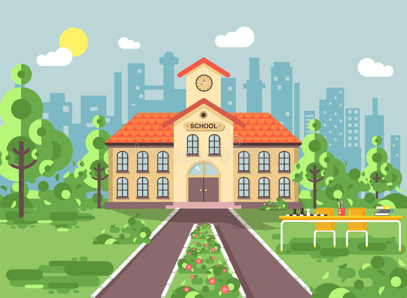 Vector illustration back to school architecture two-story building with porch, clock on tower, trees bushes exterior vector illustration
