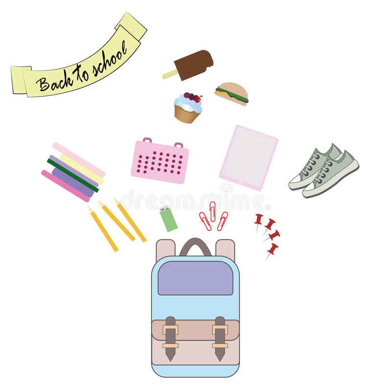 Vector illustration of Back to School supplies. royalty free stock photo