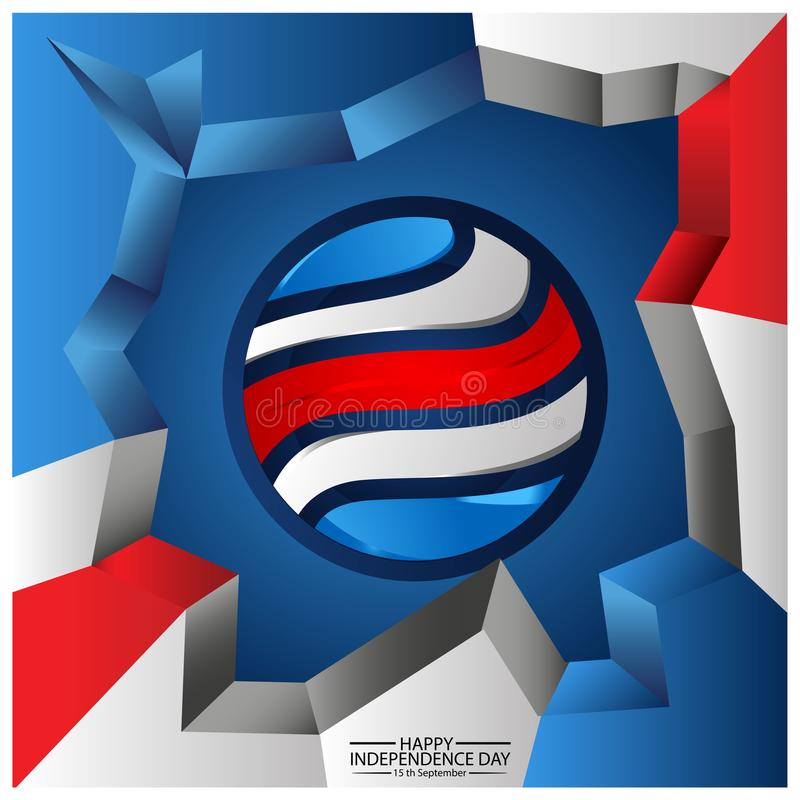 Vector illustration. background Costa Rica national holiday of September 15. Happy Independence Day. designs for posters, backgrou stock illustration