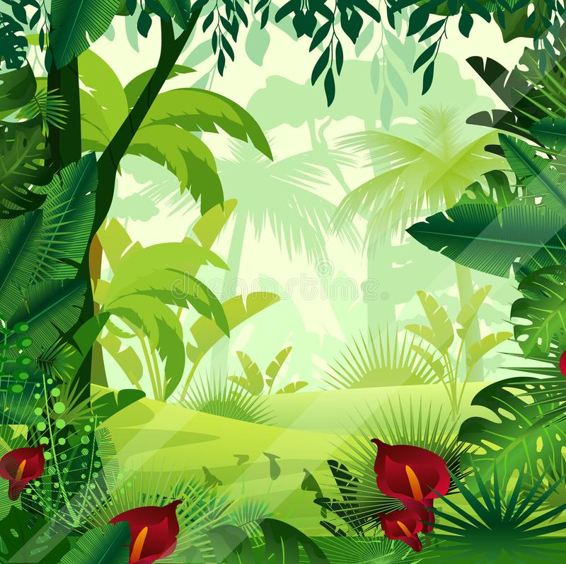 Vector illustration of background jungle lawn in morning time. Bright colorful jungle with ferns, trees, bushes, vines royalty free illustration