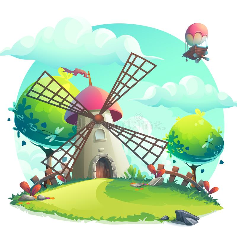 Free Vector Illustration Background Mill On The Hill Royalty Free Stock Photo - 144555355