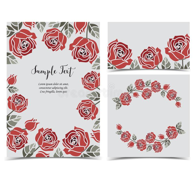 Background with red roses stock illustration