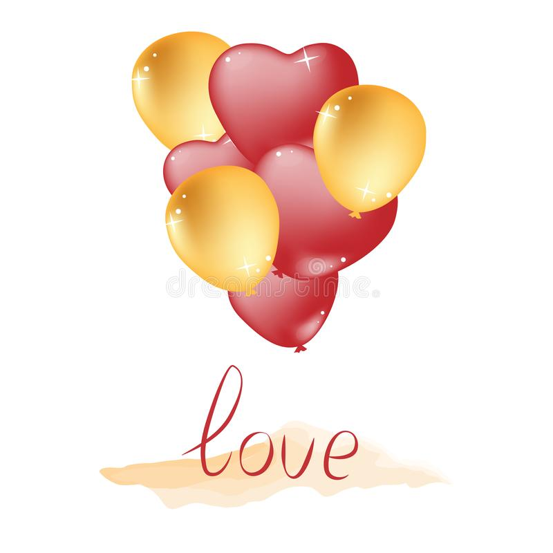 Vector illustration background for Valentine`s Day. Balloons are red and gold, round and heart-shaped, and ribbon frame. royalty free illustration