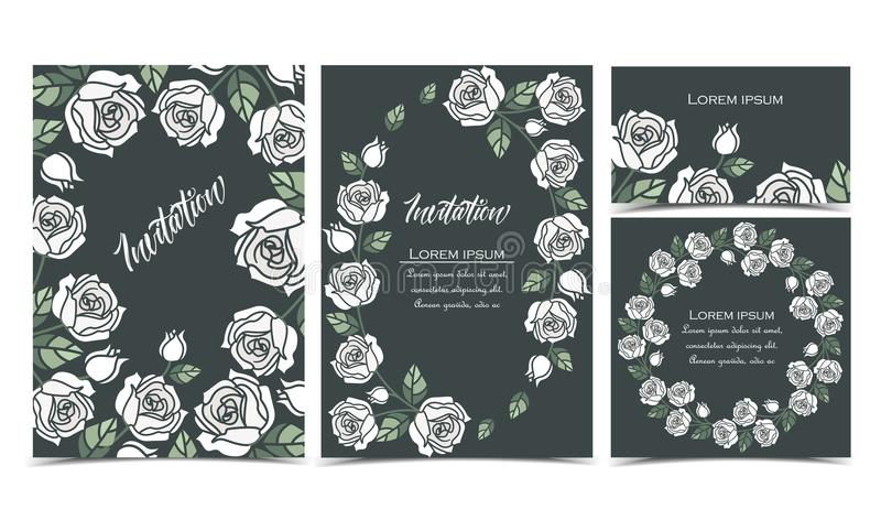 Background with white roses vector illustration