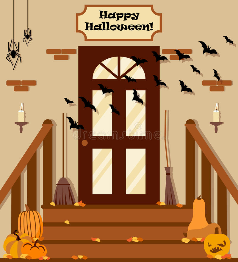 Vector illustration with backyard, stairs, pumpkins, bat in flat style. stock illustration