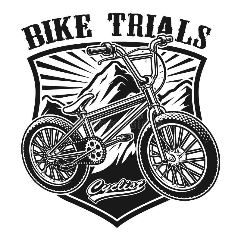Vector illustration of a badge of bmx bike royalty free illustration