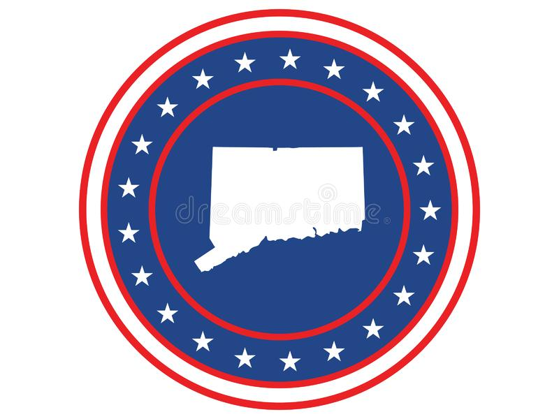 Badge of the state of Connecticut in colors of USA flag royalty free stock image