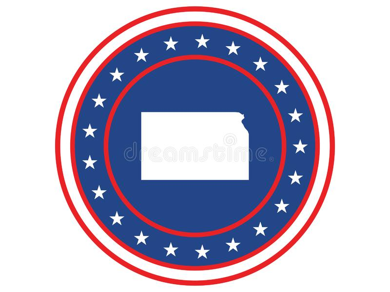 Badge of the state of Kansas in colors of USA flag royalty free stock photo