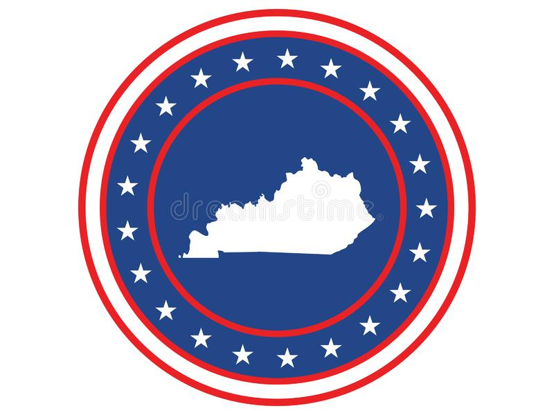 Badge of the state of Kentucky in colors of USA flag royalty free stock photo