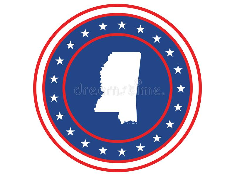 Badge of the state of Mississippi in colors of USA flag stock images
