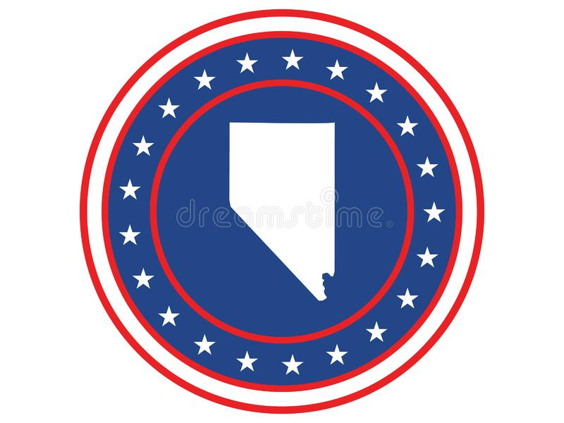 Badge of the state of Nevada in colors of USA flag royalty free stock photos