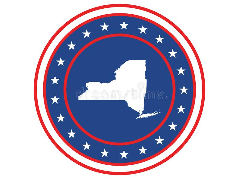 Badge of the state of New York in colors of USA flag royalty free stock image
