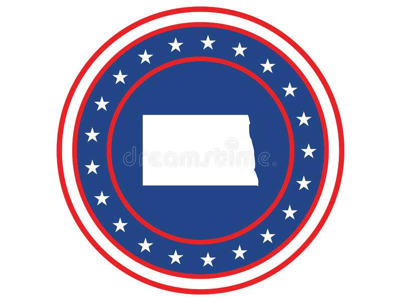 Badge of the state of North Dakota in colors of USA flag stock photos