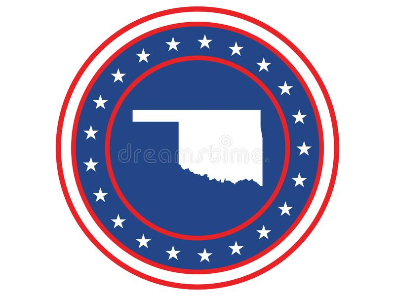 Badge of the state of Oklahoma in colors of USA flag stock illustration