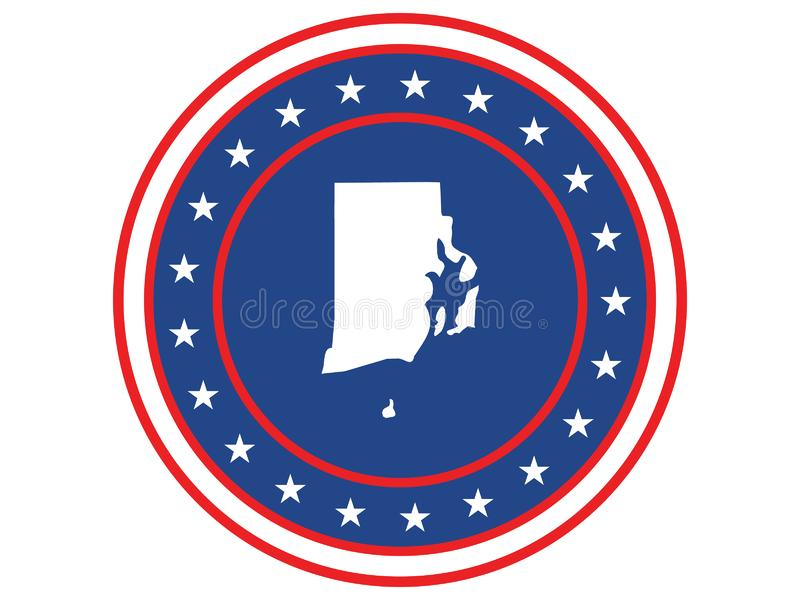 Badge of the state of Rhode Island in colors of USA flag stock photography