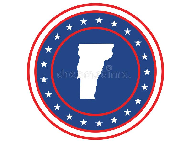 Badge of the state of Vermont in colors of USA flag royalty free stock photos