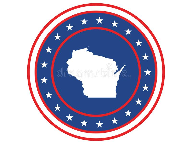 Badge of the state of Wisconsin in colors of USA flag royalty free stock image