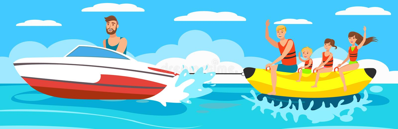 Vector illustration Banana Boat with group. stock illustration
