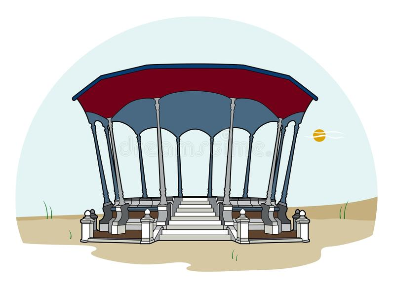 Bandstand red roof stock illustration