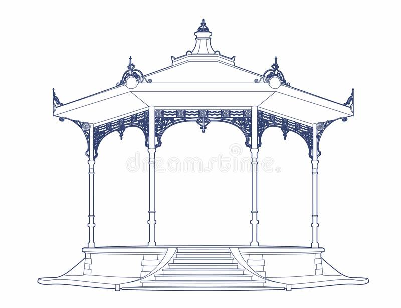 Blue drawing of an old bandstand royalty free illustration