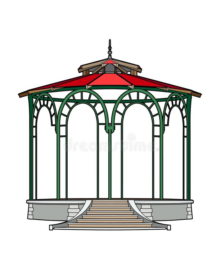 Gazebo with red roof royalty free illustration