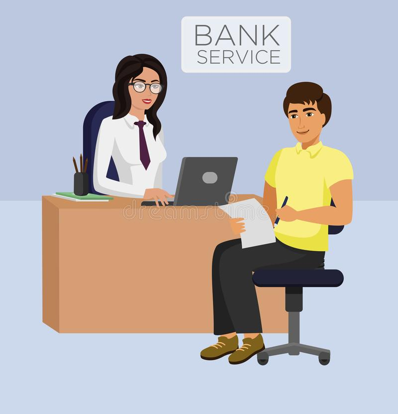 Vector illustration of Bank service female manager and client. Consultancy, ATM cash, business concept. stock illustration