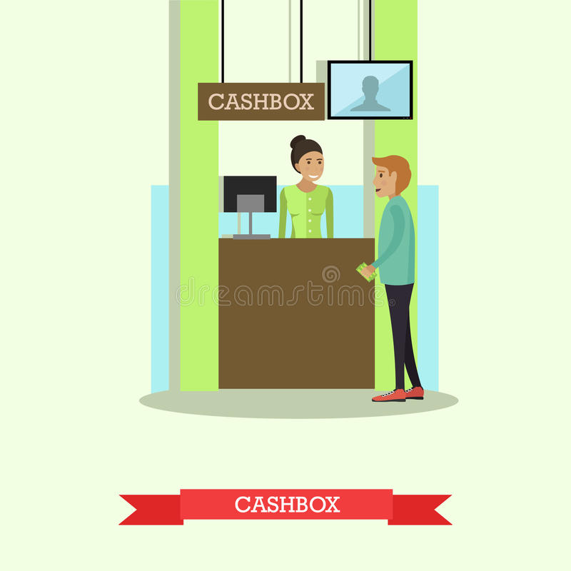 Vector illustration of bank teller serving customer in flat style. Vector illustration of bank teller serving customer. Cashbox, cash department. Banking stock illustration