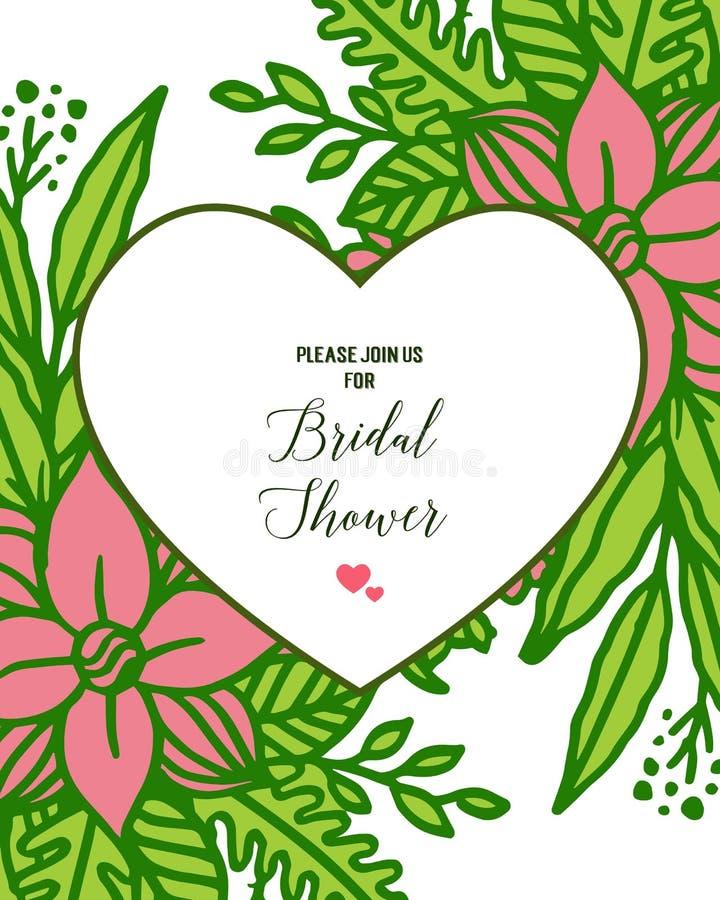 Vector illustration banner bridal shower with artwork of leaf flower frame. Hand drawn royalty free illustration
