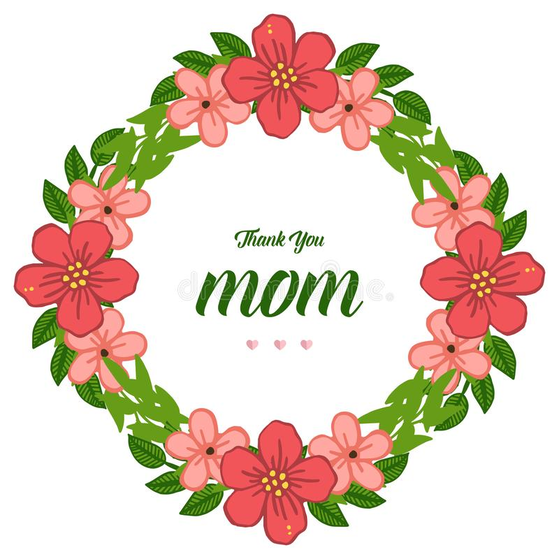 Vector illustration banner i love you mom for orange flower frame isolated on white backdrop royalty free illustration