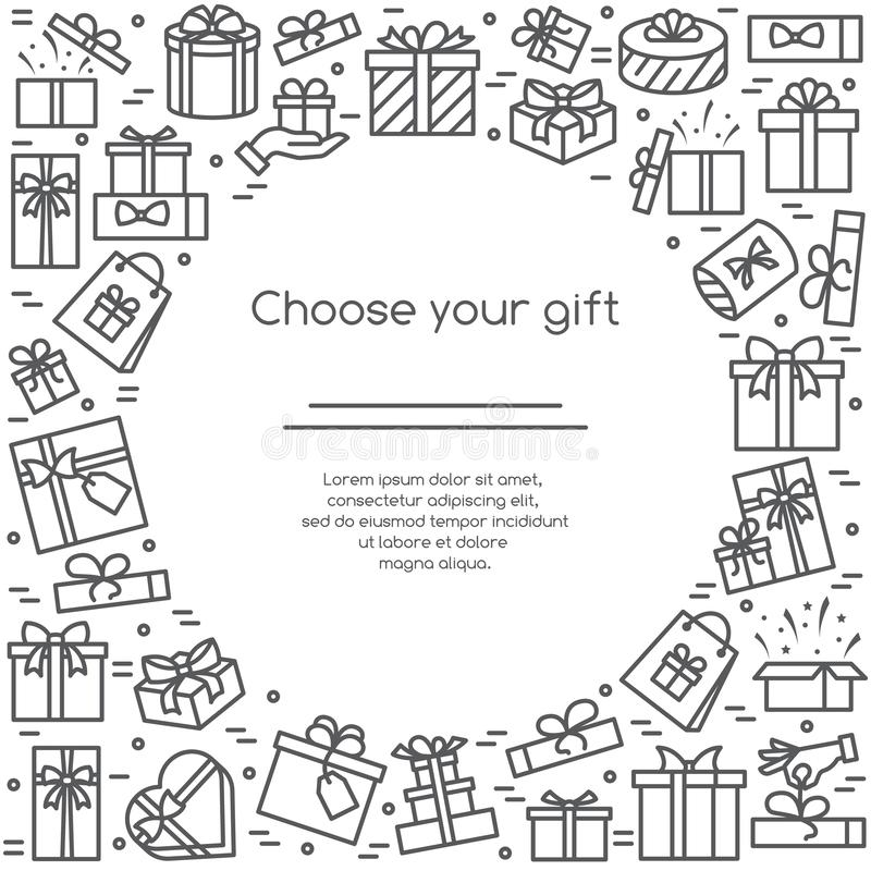 Vector illustration banner with wrapped and decorated gift boxes pictograms with editable stroke in square form. stock illustration