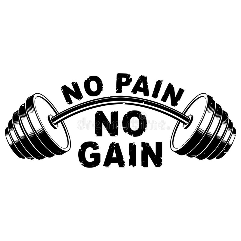Free Vector Illustration Barbell And `No Pain - No Gain` Inspirational Lettering Royalty Free Stock Image - 125583816