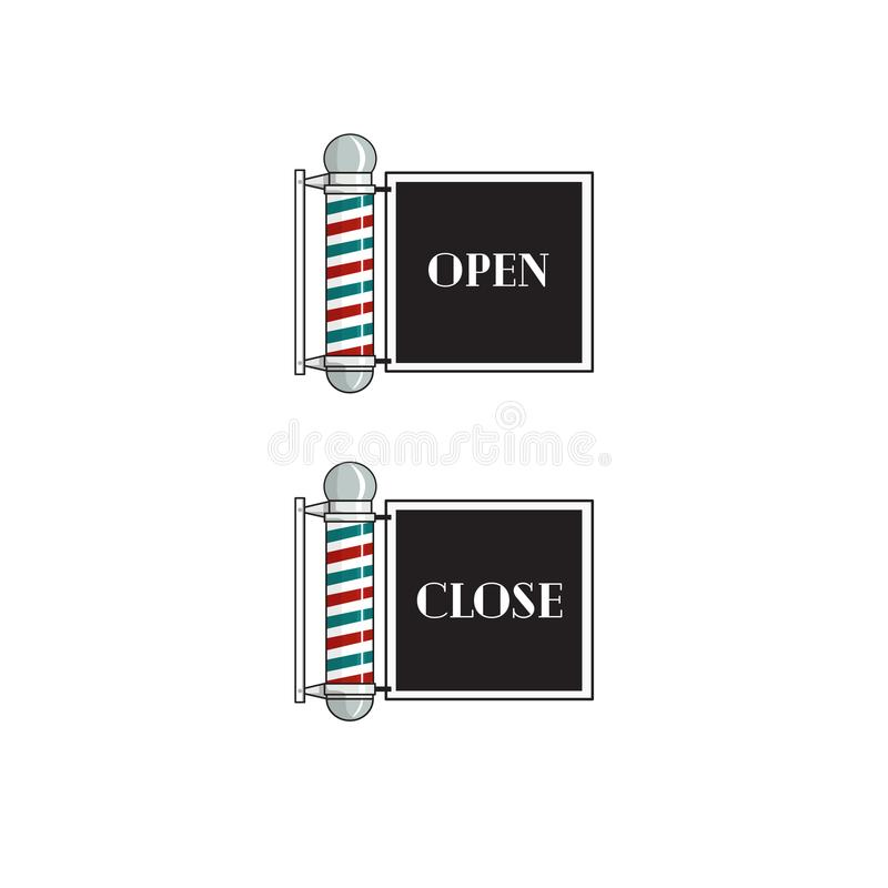 Barber Sign Open And Close royalty free illustration