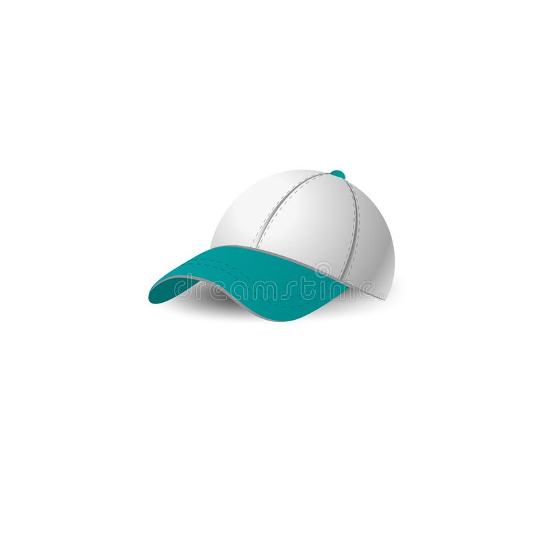 Vector illustration of Baseball Cap. White with turquise peak. 3d effect royalty free illustration