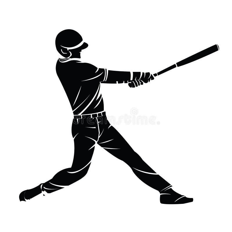 Vector illustration of a baseball player silhouette hitting the stock illustration