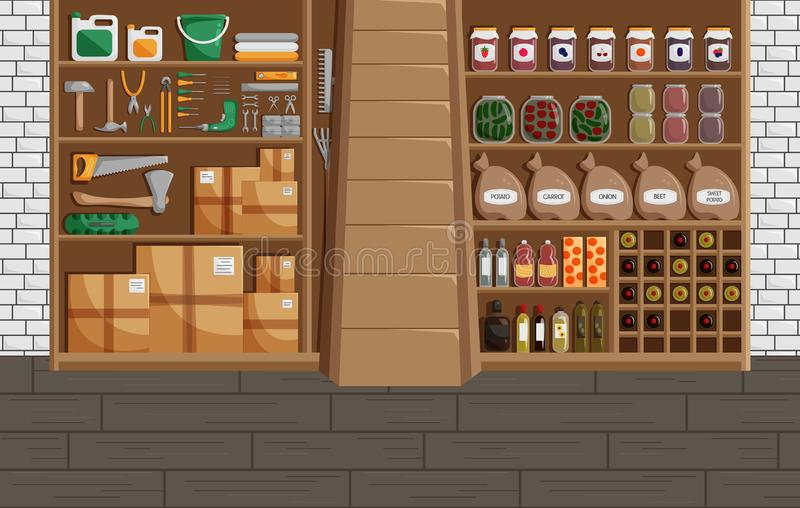 Vector Illustration of Basement in Flat Style. Classic Concept of Cellar with Canned Food, Wine and Vegetables. Workshop or Storehouse with Mechanic Equipment stock illustration