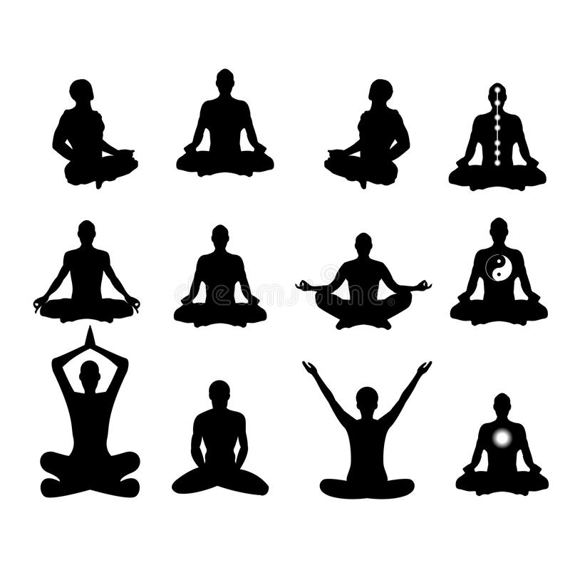 Vector illustration Basic meditation Poses stock photography